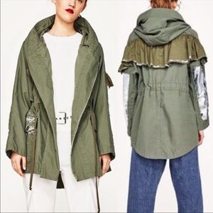 Zara Army Parka with paint and sequins
